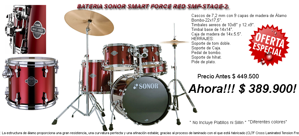 Bateria Sonor Smart Force RED SMF-Stage2