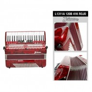 L1311A ACORDEON 120B 41K C/FUNDA COLOR ROJO SCIMONE